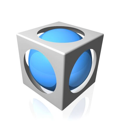 Blue color shiny sphere in side a cut out cube
