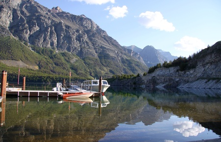 Boating dock in the St Mary lake , middle of Glacier national park photo