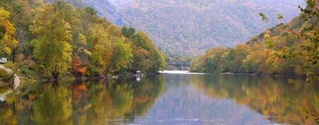 west virginia: Panoramic view of Kanawha river in West Virginia