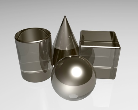 Cone,Cube,sphere and cylinder in shiny metal rendering Stock Photo - 13259487