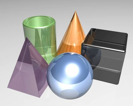 Five different 3d shapes in the color photo