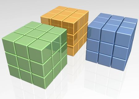 Shiny reflective 3D cubical sets in three different colors photo