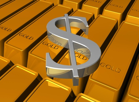 Shiny 3d dollar on gold bars Stock Photo - 13311687