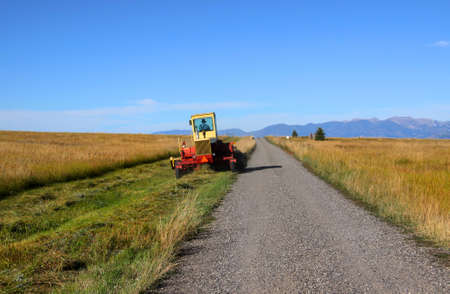 road tractor: Rural road through Prairies in Montana