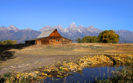 Mormon row barn in Grand Tetons national park photo