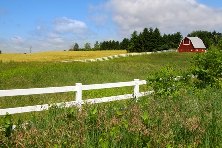 Scenic farm landscape with Barn