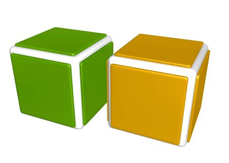 One green and one yellow cube on white background Stok Fotoğraf