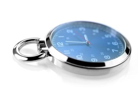 hands in pocket: Blue pocket watch on white background