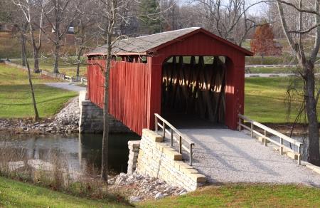 cataract: Cataract Covered bridge in Indiana Stock Photo