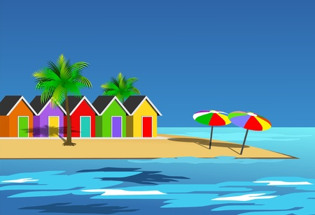 An illustration scenic beach landscape illustration