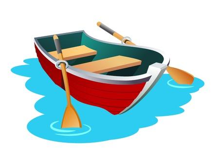 小さな行ボートのイラスト