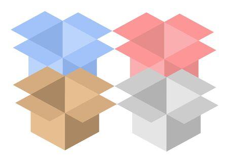 Four different color open boxes photo