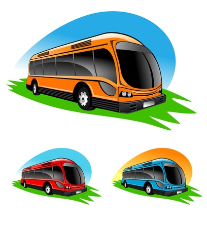 cartoon bus: An illustration of different color bus icons