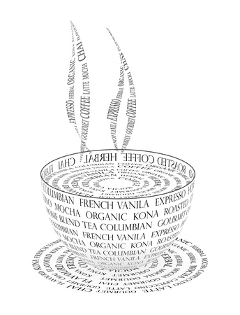 chai: An illustration of Coffee cup made with text Stock Photo