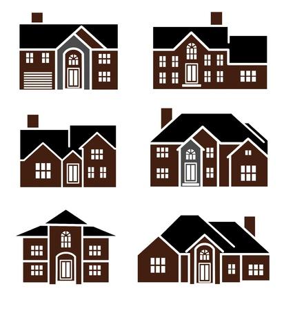 Een illustratie van de verschillende huis icon set Stockfoto - 14295858