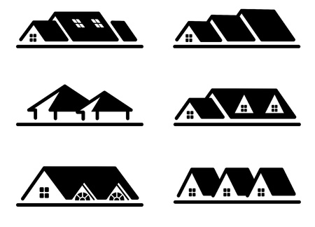 Different home roof icon set 스톡 콘텐츠