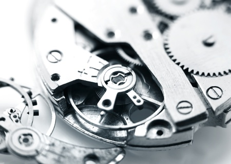 watch mechanism details in monochrome