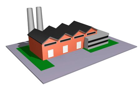 3d illustration of small and medium size industry concept Фото со стока