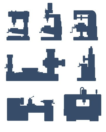 lathe: An illustration of set of machine tool icons