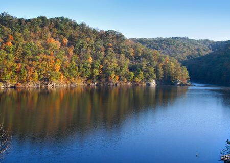 Early autumn scene in Babcock state park in West Virginia photo