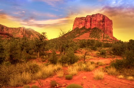 Evening sky over red rock mountains in Sedona photo