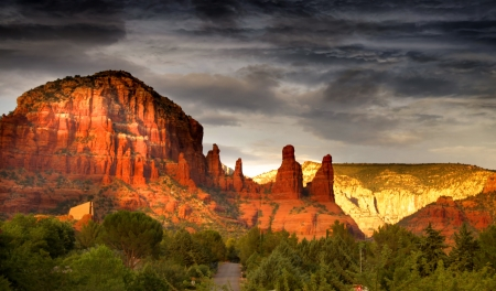 Stormy sky over red rock mountains in Sedona photo