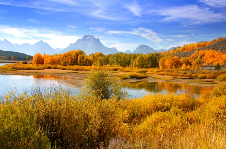 oxbow bend: Grand Tetons from oxbow bend