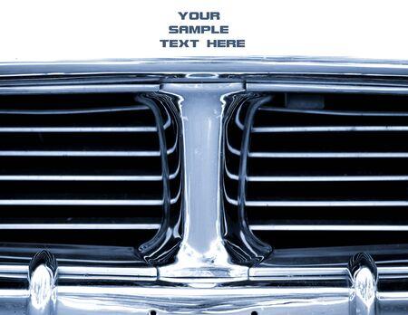 照らす: 古典的な車のグリルのショットを閉じる