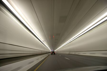 Fast driving through a tunnel
