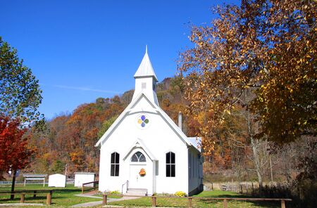 west virginia trees: Small beautiful white church in rural West Virginia