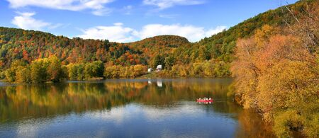 Allegheny river panoramic view near Tidioute in Pennsylvania photo