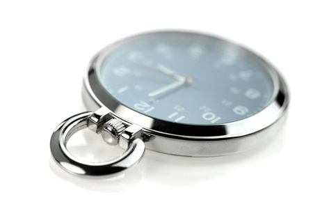 timekeeper: Shiny pocket watch on white background