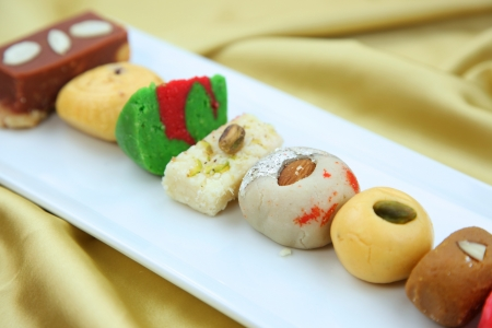 gulab: Variety of delicious Indian sweets   Stock Photo