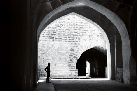 golconda: Golconda fort in black and white  Editorial