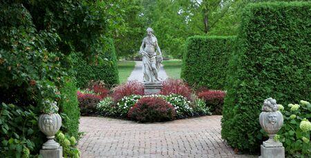 garden fountain: Toledo Botanical garden Stock Photo