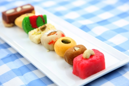 gulab: Assorted colorful sweets of India Stock Photo