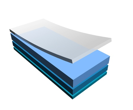 Layers concept of plastic composite material such as vinyl wraps and coated plastics Stockfoto