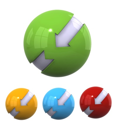 Four different color 3d spherical elements  photo