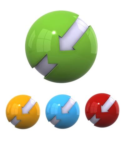 Four different color 3d spherical elements
