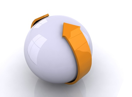 White sphere with orange  arrow photo
