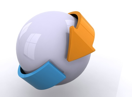 White sphere with orange and blue arrows