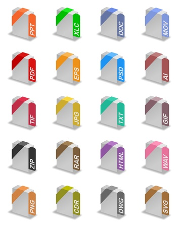An illustration of different file formats Stock Illustration - 17067927