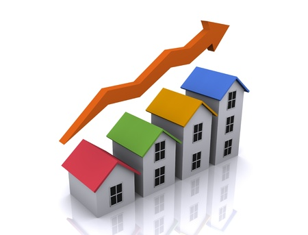 An illustration of 3d real estate icon of growth in housing