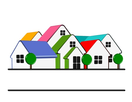 An illustration of colorful home icon with copy space illustration