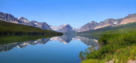 Panoramic view of Lake Sherburne in Glacier national park