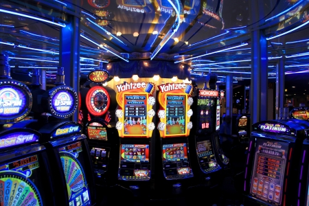 wheel spin: Gambling booths and slot machines in side Casino