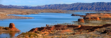 Panoramic view of Lake Mead recreation area Stock Photo