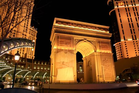 LAS VEGAS - DECEMBER 27  The Paris Hotel   Casino on December 27, 2012 in Las Vegas, Nevada  it includes a half scale, 541-foot tall replica of the Eiffel Tower,A two-thirds size Arc de Triomphe,