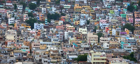 Colorful buildings in the city of Vijayawada in India photo