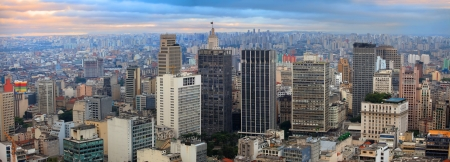 urbanization: Panoramic view of downtown Sao Paulo in twilight time
